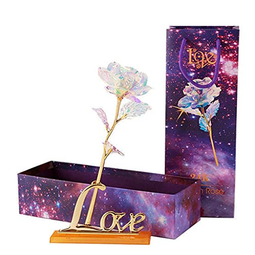 Unique Presents Rose with Love Base,Gift Box Artificial Galaxy Flower Colorful Luminous Rose Valentine's,Wedding,Anniversary Birthday Best Gifts for Mom Wife (line lamp) (Pink)