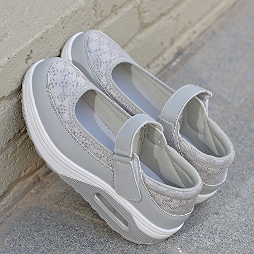Enllerviid Malha De 36 Planalto Sapatos Senhoras Sapatilha Tênis Cinza Casuais PXqwda