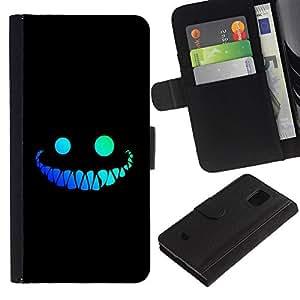 Ihec-Tech / Flip PU Cuero Cover Case para Samsung Galaxy S5 Mini, SM-G800, NOT S5 REGULAR! - Cool Funny Face Smile Evil Teeth Black