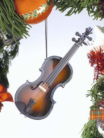 Dark Brown Fiddle Musical Instrument Ornament 5 Inches