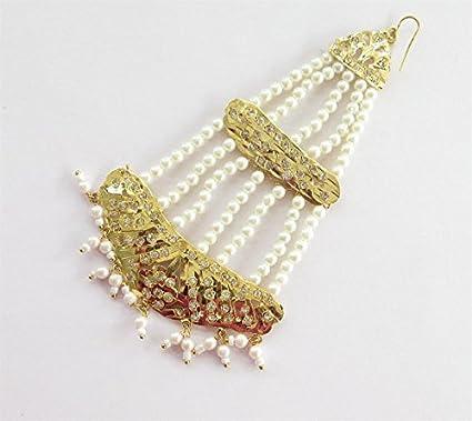 Amazon Com Handmade Gold Jadau Pearl Head Passa Jadau Jhoomer