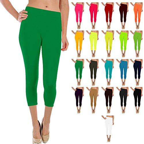 Basic Solid Footless 3/4 Length / Capri Leggings (Green)