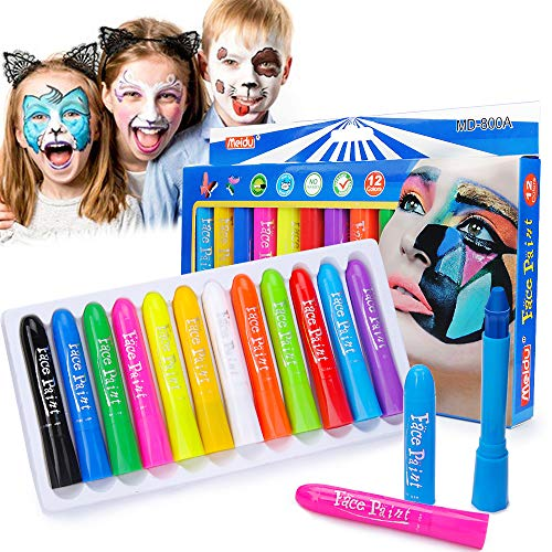 Face Paint Crayons, Flecom 12 Colors Face Painting Kit Washable Face Paint Sticks for Kids Non-Toxic Face Body Painting Crayons for Halloween Makeup, Christmas, Costumes, Birthday Party