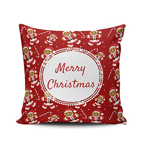 WULIHUA Decorative Throw Pillow Covers Red and White Gingerbread Santa Candy Cane Pattern Square Outdoor Cushion Cover Pillowcase Size 18x18 Inch Simple and Elegant Design Double Sided Printed