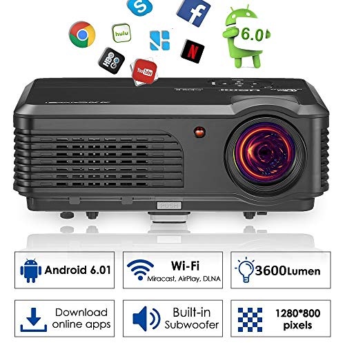 WiFi Bluetooth Outside Inside Movies Projector 2018 Android 6.0 Wxga LCD LED Smart Projectors Support HDMI Wireless Connectivity APP Netflix Sling TV KODI Airplay,with Speaker for Home Entertainment