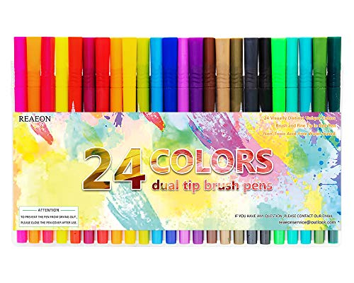 Dual Brush Markers Pen, Fine Point Pens & Calligraphy Colored Brush Pens for Coloring Books Sketching Bullet Journaling Highlighter Taking Note