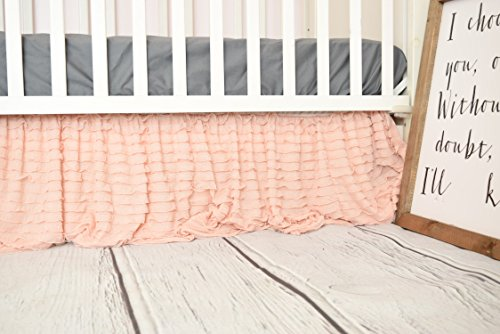 (Blush Pink Crib Skirt for Baby Girl Nursery Bedding Dust Ruffle)