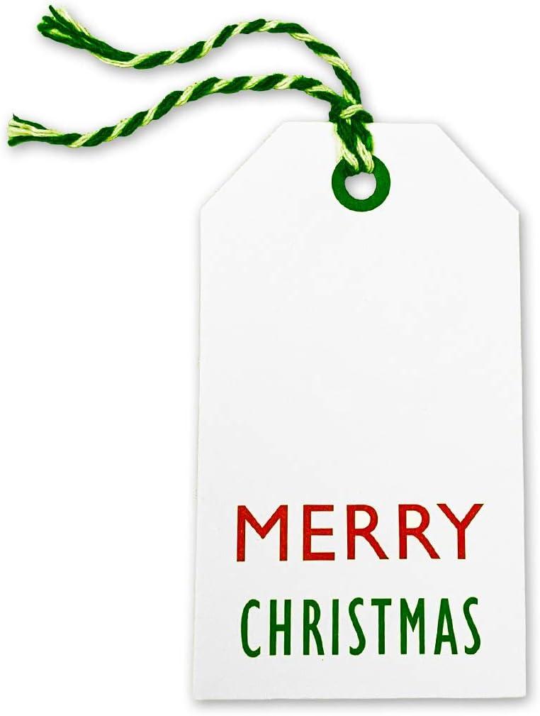 Christmas Gift Tags Personalised Luggage Tag Shape Martha Vintage Biba Style Sparkle Jute Ribbon 9 Pack