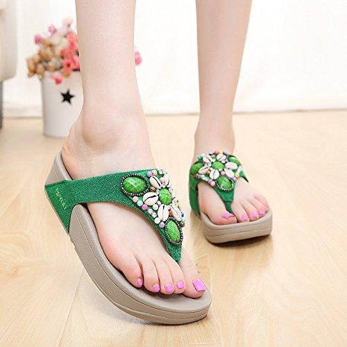 LIXIONG Portátil Zapatillas de mujer Flip-Flops Verano Caucho Casual Plataforma Talón Azul Verde Rosa -Zapatos de moda ( Color : Pink , Tamaño : EU36/UK4/CN36 ) Verde