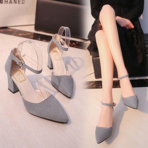 SHOESHAOGE Lazo Rosa Ranurados High Heels con La Punta del Hueco Rugoso Sandalias De Satén Femenino De Luz,Ue39 Zapatos De Trabajo. EU37