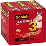 Scotch Transparent Tape, 3/4 x 1000 Inches, 3 Rolls (600K3)