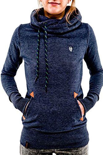 ual Slim Fit Draped Athletic Hoodie Sweatshirt Blue Size S (High Neck Sweatshirt)
