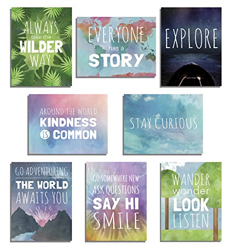 Wall Decor For Teens - The World Mini Collection Wall Card Prints, Inspirational Phrases, Motivational Wall Quotes, Wall Decoration