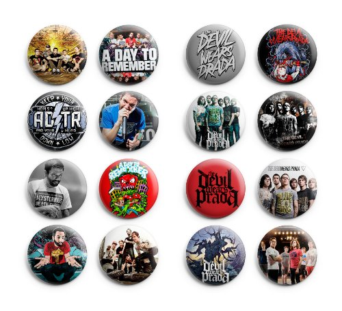 A day To Remember / The Devil Wears Prada Pinback Buttons 16Pcs 1.25 inch Mix Set
