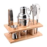 Image of Stainless Steel Cocktail Shaker Set Bundle of 8 Bar Tools Bartender Accessories (350 ml)