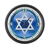 Large Wall Clock Blue Star of David Jewish