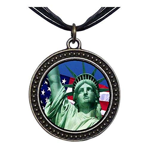 GiftJewelryShop Bronze Retro Style The U.S. Statue of Liberty Dots Flower Pendant Charm Necklaces #20
