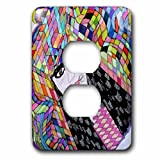 3dRose Jos Fauxtographee- Sketched Headdress Woman - A drawn picture of a woman with black hair in colorful headdress - Light Switch Covers - 2 plug outlet cover (lsp_266275_6)