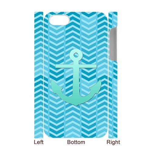iPhone 4s Case, Hard Back Cover for iPhone 4s with Teal Blue Chevron Anchor Phone case Design