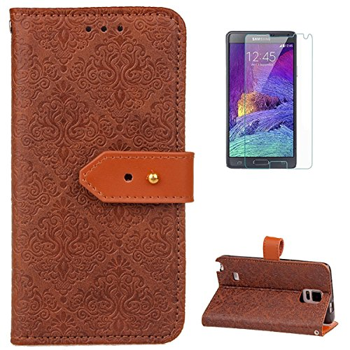 Samsung Galaxy Note 4 Leather Wallet Case [Free Screen Protector],KaseHomeVintage Flower Paisley Pattern Design Folio Magnetic Flip Stand PU Leather Protective Case Cover Skin -