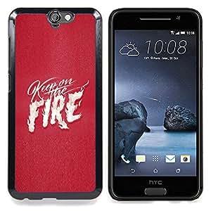 - Pink Fire Text White Flames Love Heart/ Duro Snap en el tel????fono celular de la cubierta - Cao - For HTC ONE A9