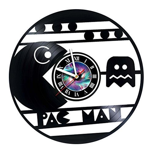 Pac Man - Game - Handmade Vinyl Record Wall Clock - Decorate your space with Modern Art Ideas - Best birthday unique gifts idea for birthday, wedding, anniversary for girlfriend and boyfriend ()