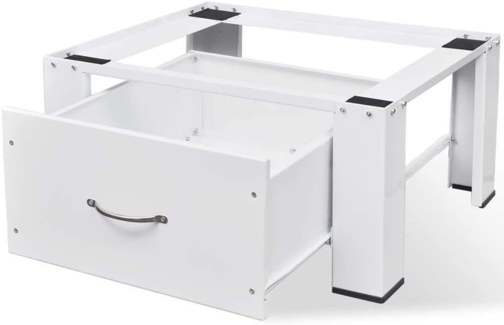 vidaXL Pedestal para Lavadora con Cajón Blanco Acero 100 kg Soporte Elevador