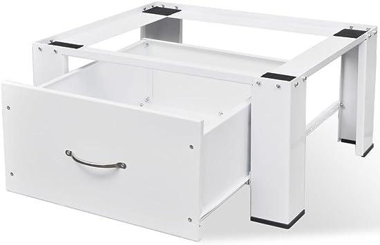 vidaXL Pedestal para Lavadora con Cajón Blanco Acero 100 kg ...