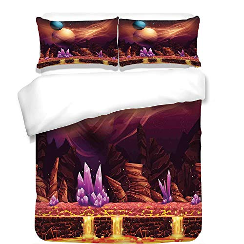 3Pcs Duvet Cover Set,Fantasy House Decor,Fantasy Spot with Golden River in Mars with Nebula and Other Planets Solar Zodiac Theme,Multi,Best Bedding Gifts for Family/Friends by iPrint