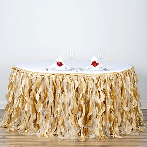 Efavormart 14ft Enchanting Curly Willow Taffeta Table Skirt for Kitchen Dining Catering Wedding Birthday Party Events - Champagne by Efavormart.com (Image #4)