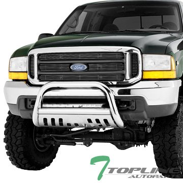 Topline Autopart Stainless Steel Chrome HD Bull Bar Brush Push Front Bumper Grill Grille Guard V2 w/ Skid Plate 05-07 Jeep Grand Cherokee / 06-10 Commander