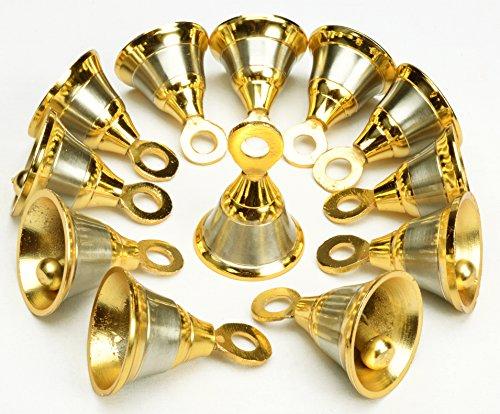 "AzKrafts Lot 12 Indian Vintage Style Brass Two Tone Bells 1.6"" Ht Door Home Décor"