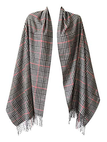2 PLY 100% Cashmere Scarf BLANKET Collection Made in Scotland Wool Solid Plaid (White Red Black Houndstooth 9-16)