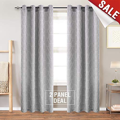 jinchan Grey Window Curtains for Bedroom Curtain Geometry Lattice Jacquard Window Treatment Set for Living Room 84