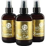 Punto Aroma Kit 2x Ambientador de fragancia,1x aroma Coche nuevo - Premium Air Freshener - Spray Aromatizante con atomizador - Ideal para casa coche oficina carro baño - (3x 250ml) (Kit de Air Fresheners 2x Bamboo + New Car)