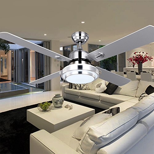 RainierLight Silver Stainless Steel Ceiling Fan Household Decorative for Indoor with Remote Control LED 3 Changing Light Chandelier Lighting Fixture (42inch) by RainierLight (Image #2)