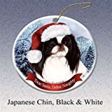 Holiday Pet Gifts Japanese Chin (Black & White) Santa Hat Dog Porcelain Christmas Tree Ornament