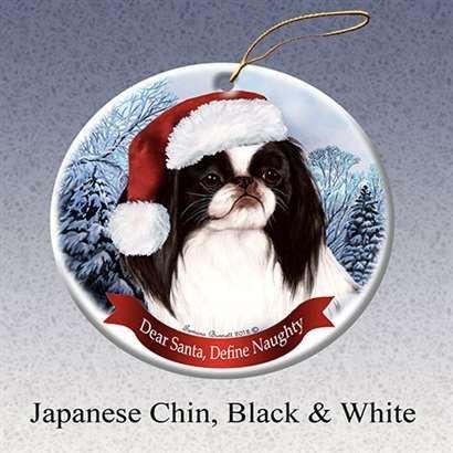 Holiday Pet Gifts Japanese Chin (Black & White) Santa Hat Dog Porcelain Christmas Tree Ornament