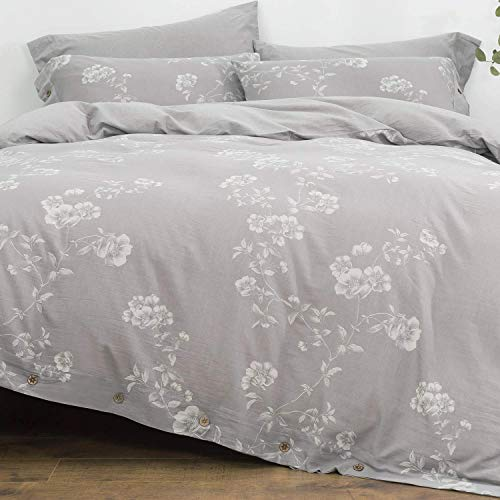 OREISE Duvet Cover Set Queen Size Washed Cotton Yarn, Jacquard Gray and White Floral/Flower and Branch Pattern 3Piece Bedding Set