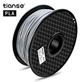 TIANSE Silver Metal 3D Printer Filament PLA 1.75mm 1KG Spool Filament for 3D Printing, Dimensional Accuracy +/- 0.03 mm, Silky Silver