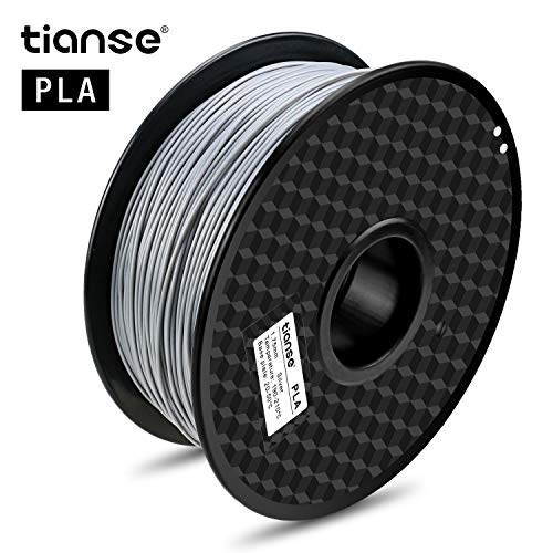 TIANSE Silver Metal 3D Printer Filament PLA 1.75mm 1KG Spool Filament for 3D Printing, Dimensional Accuracy +/- 0.03 mm, Silky Silver ()