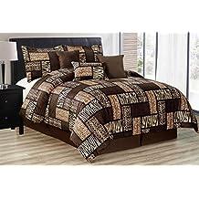 Black/Brown Comforter Set Animal Print Safari Patchwork Microfur Bed in A Bag King Size Bedding - Leopard, Zebra, Cheetah Etc.