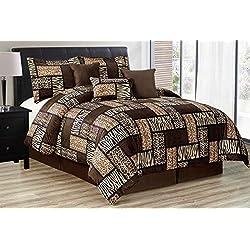 Black / Brown Comforter Set Animal Print Safari Patchwork Microfur Bed In A Bag KING Size Bedding - Leopard, Zebra, Cheetah Etc.