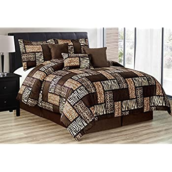 Black   Brown Comforter Set Animal Print Safari Patchwork Microfur Bed In A  Bag  California. Amazon com  7 Pieces Multi Animal print Comforter set KING size