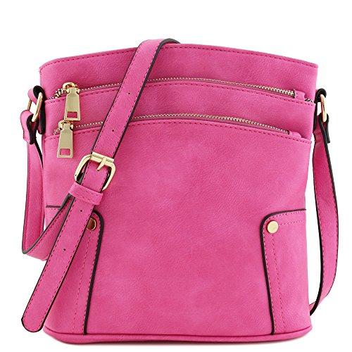 Triple Zip Pocket Medium Crossbody Bag ()