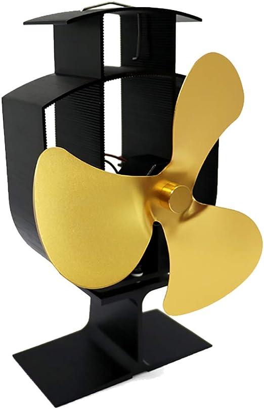 vimbhzlvigour - Ventilador para estufa de chimenea de casa, gran flujo de aire, 3 hojas, funciona con calor, quemador de leña de gas, ahorro de energía dorado: Amazon.es: Hogar