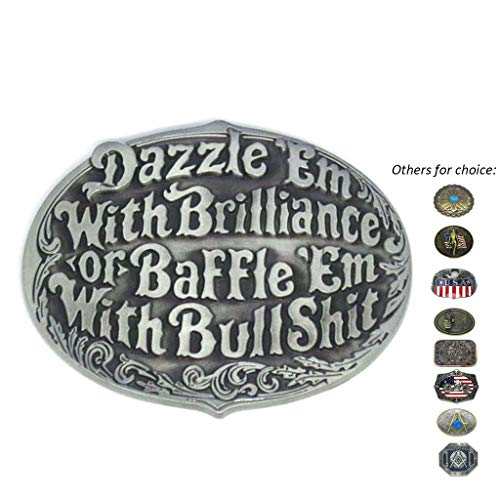 Oval Western Belt Buckles Engraved Dazzle 'Em or Baffle 'Em Novelty Cowboy Belt Buckle for Men Women ()