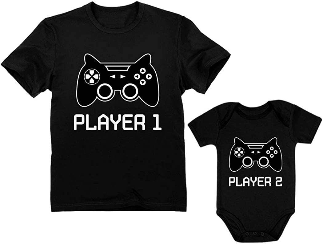 Gamer Shirts for Father & Son Daughter Player 1 Player 2 Men Tee Baby Bodysuit