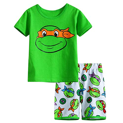 LLS Teenage Mutant Ninja Turtles Boys Shorts 2 Piece Pajama Set 100% Cotton Red,Size 24Mos-7Yrs (Green, 3t) -