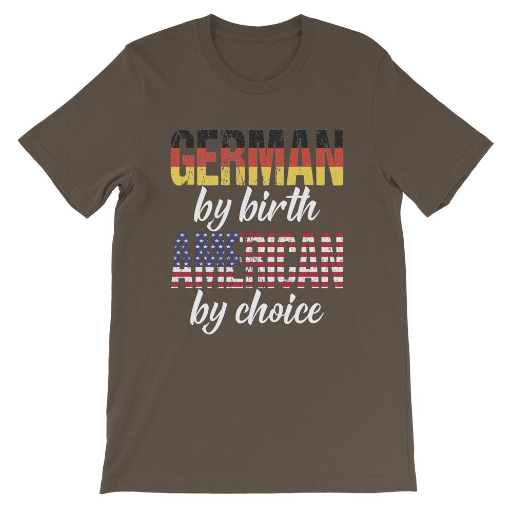Short-Sleeve Unisex Tee Heritage Shirt DesignedGifts German by Birth American by Choice Print Tshirt